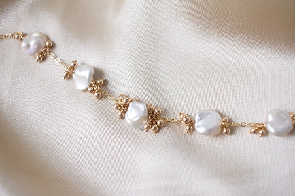 Ellie Keshi Pearl and Gold Beads Bracelet