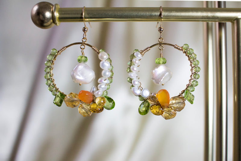 The Mira Peridot and Citrine Hoop Earrings