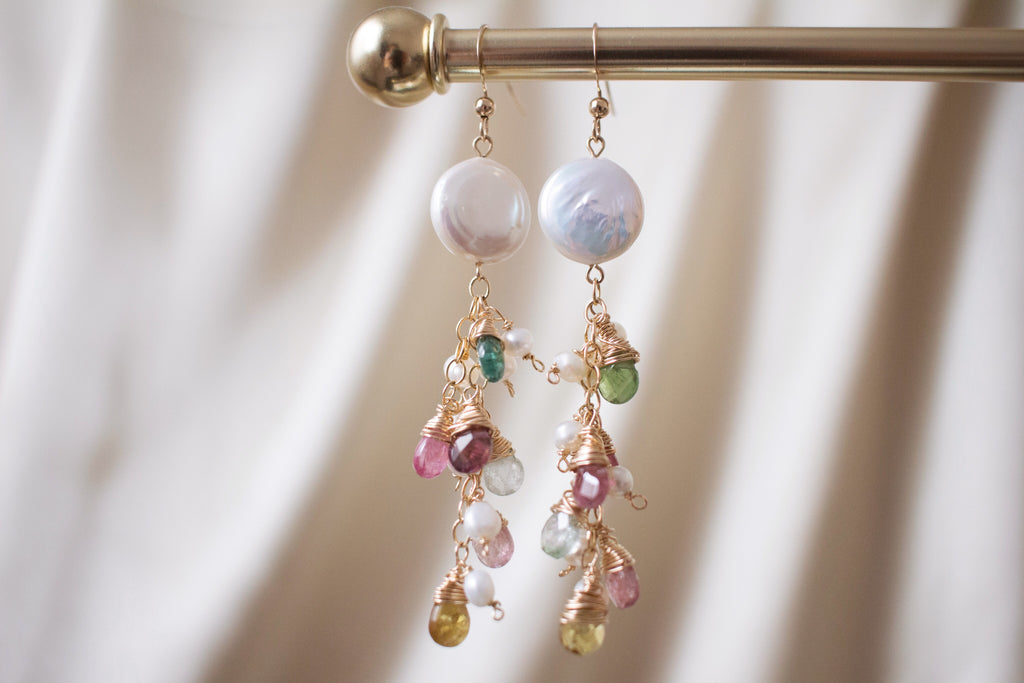 The Eleanor Multicolour Tourmaline and Coin Pearl Earrings