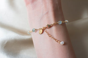 Ally Aquamarine and Coin Pearl Bracelet