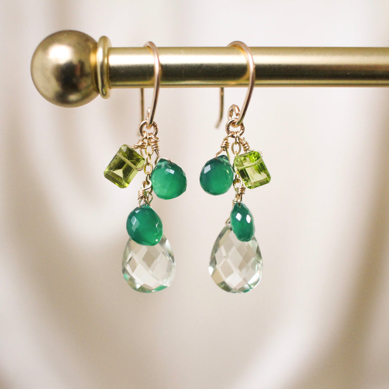 Kelly Green Onyx and Green Amethyst Drop Earrings