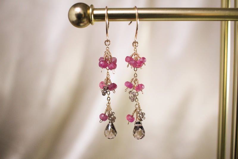 Natalie Pink Sapphire and Smoky Quartz Drop Earrings