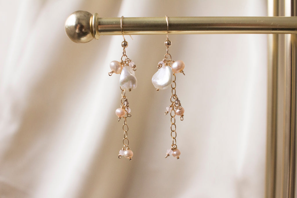 Peach Petals Keshi Pearls and Rose Quartz Earrings