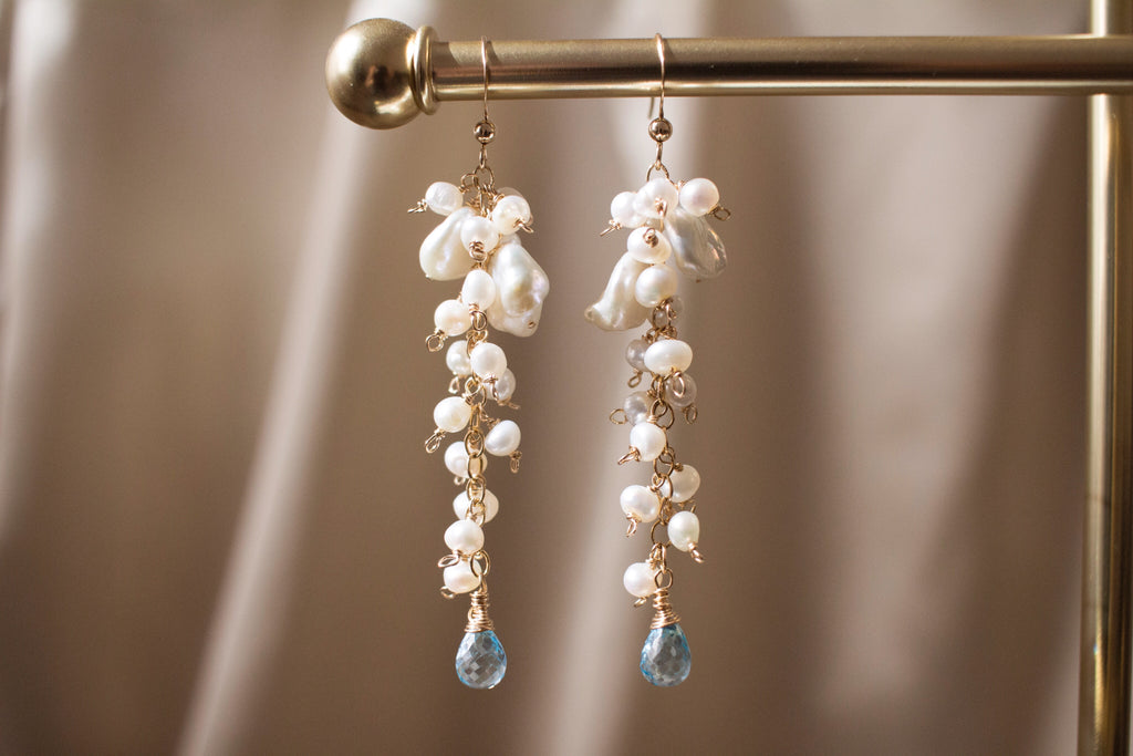 The Leanne Keshi Pearls and Blue Topaz Earrings
