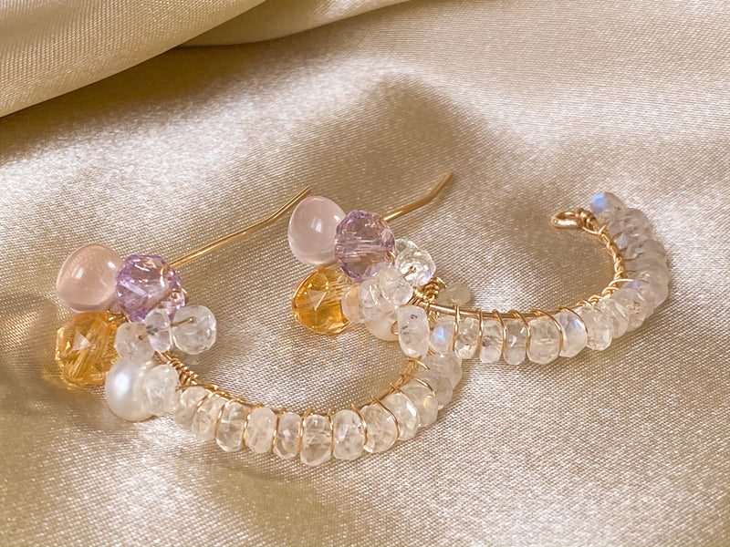 Moonstone, rose quarts, citrine, amethyst 14KGF hoop earrings