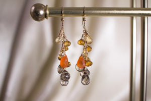 Short Sunset Brandy and Smoky Quartz Earrings