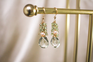 Green Apatite and Green Amethyst Earrings