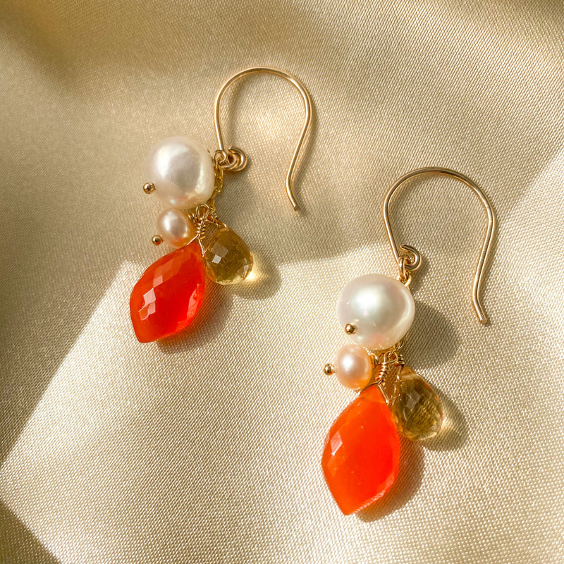 The Natalie Orange Carnelian & Pearl Dangle Earrings