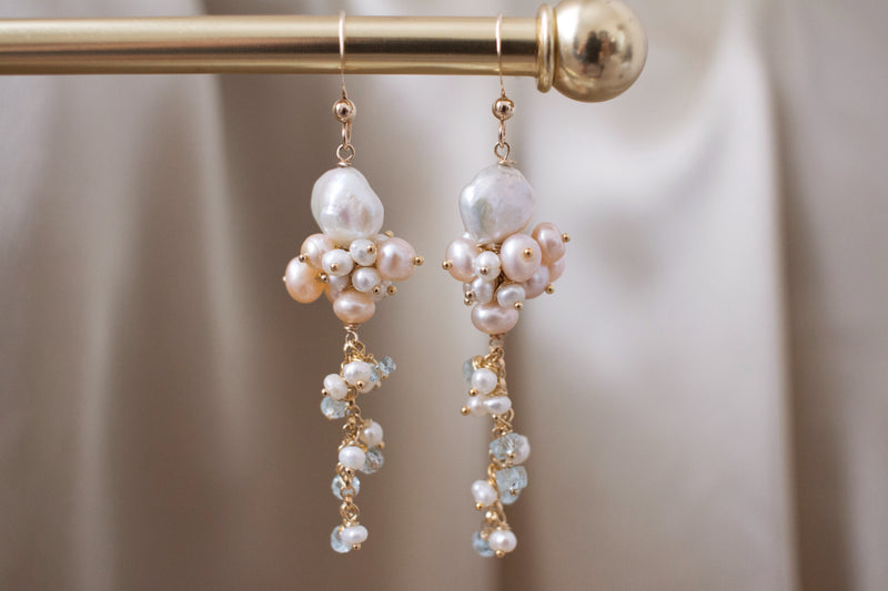 The Vera Keshi Pearls and Aquamarine Earrings