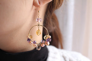 Amethyst, pearl, citrine gemstone fancy 14KGF gold hoop earrings