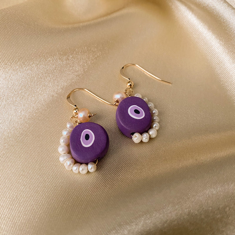 No Evil - Purple Evil Eye & Pearl Earrings