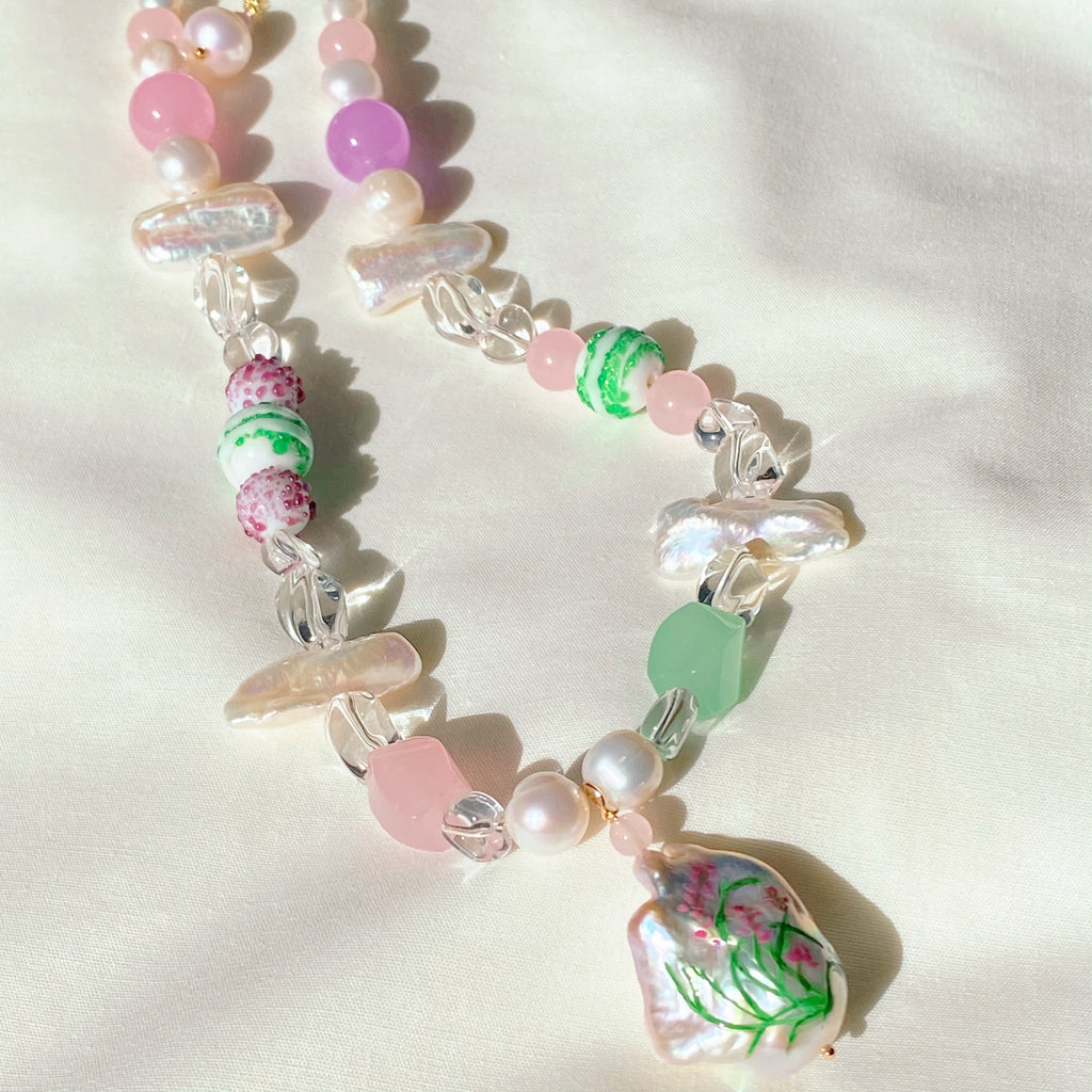 Orchid Gemstone and Glass Necklace