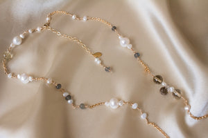 The Victoria Pearl and Gemstone Long Necklace
