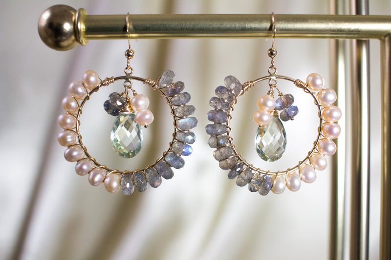 Labradorite and Pink Pearl Hoop Earrings