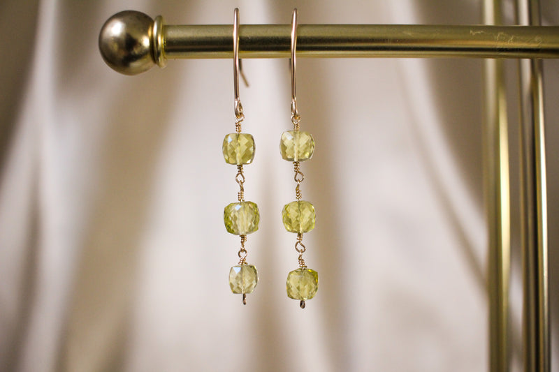 Lemon quartz cubes 14KGF gold drop earrings