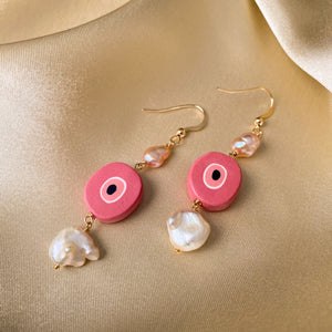 So Evil - Pink Evil Eye Pearl Earrings