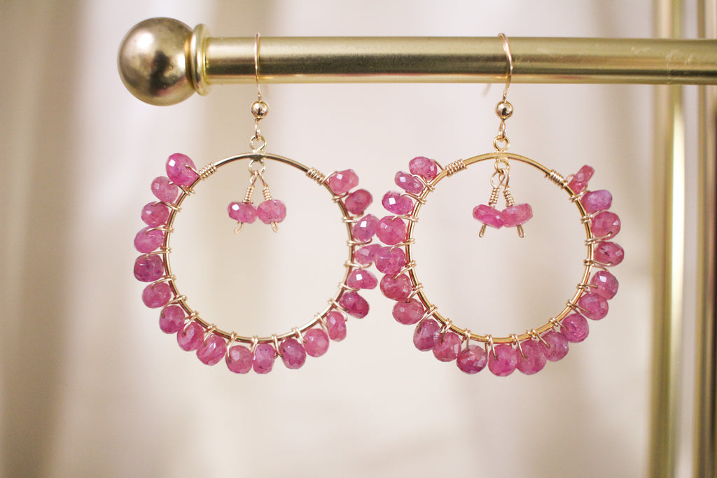 Rosy Blush Pink Sapphire Hoop Earrings
