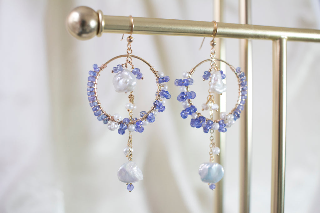 Ilanna Tanzanite and Keshi Pearl Earrings