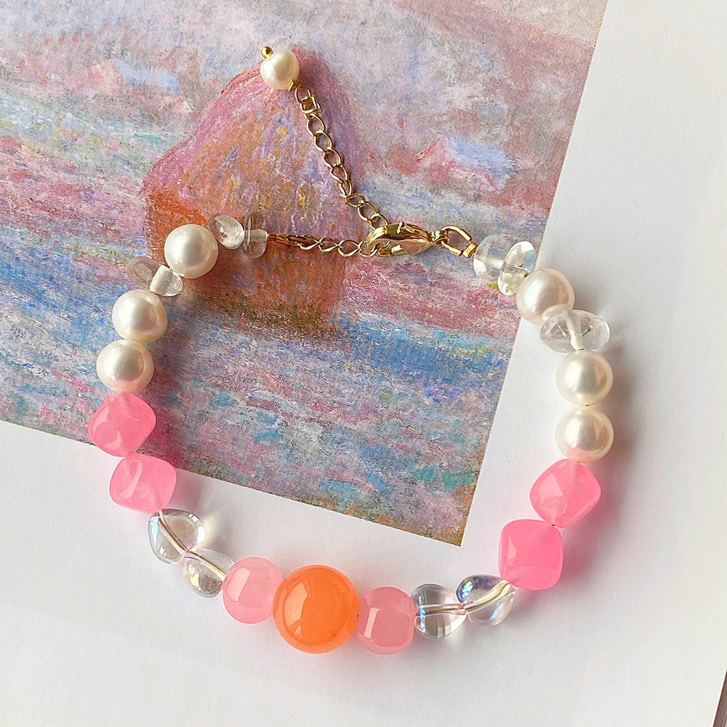 Cotton Candy Jade & Pearl Bracelet