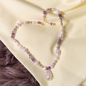 Heavenly Amethyst & Fireball Pearl Necklace