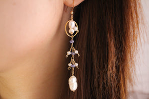 Tanzanite and Pearl Drop Earrings