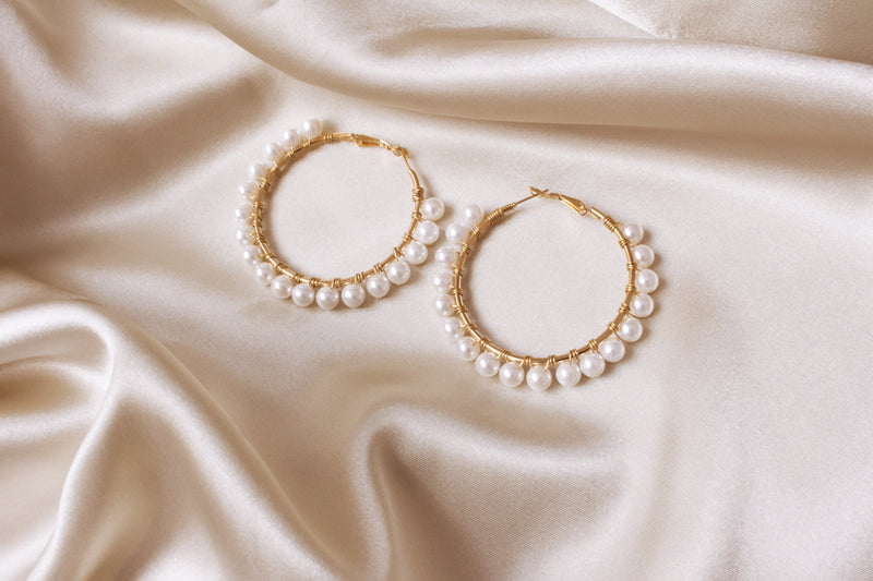 Elodie Large Shell Pearl Hoop Earrings