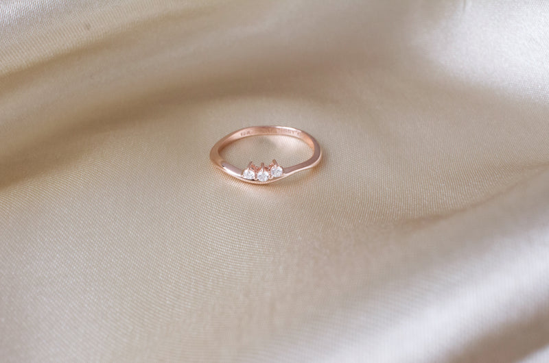 10k rose gold diamond stacking ring