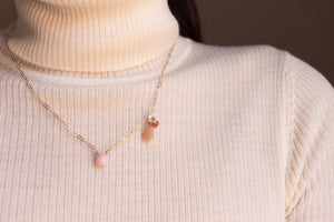 Pink Opal and Peach Moonstone Leaf Necklace