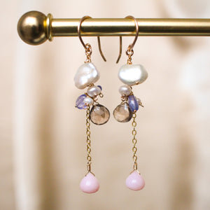 Fluffy Clouds Pearl and Tanzanite Earrings