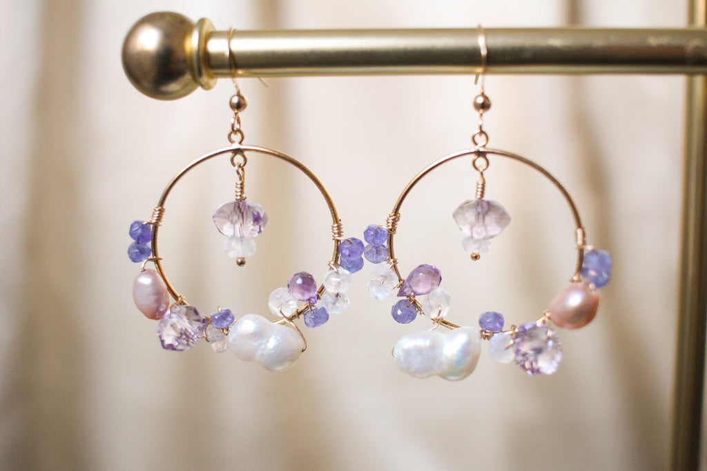 Estelle Tanzanite and Pearl Hoop Earrings