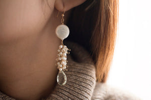 Kimura Pearl and Green Amethyst Earrings