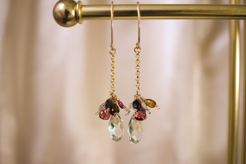 Firefly Tourmaline and Green Amethyst Drop Earrings