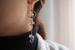 Mystic Night Kyanite and Amethyst Drop Earrings