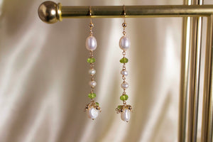 Pearl & Peridot Drop Earrings