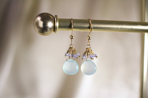 Sea Blue Chalcedony Water Droplet Earrings