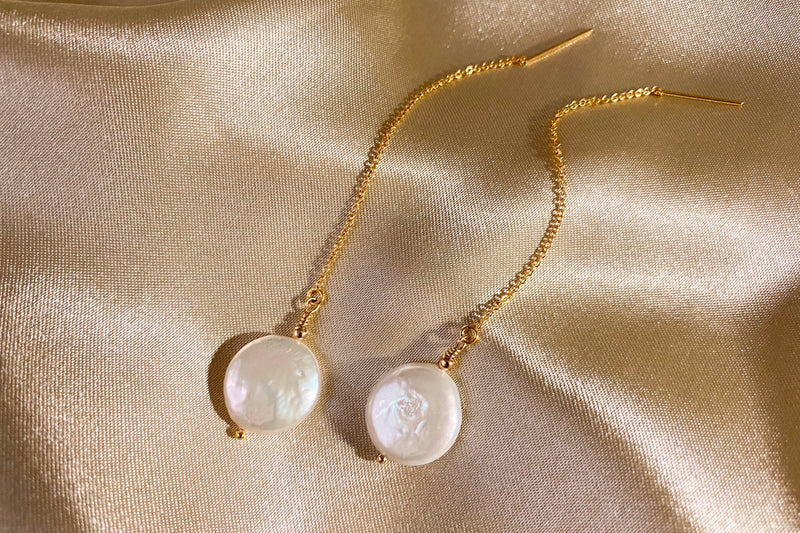 Coin Pearl Drop Threader Earrings