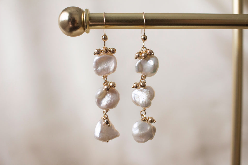 Ellie Keshi Pearl and Gold Beads Earrings