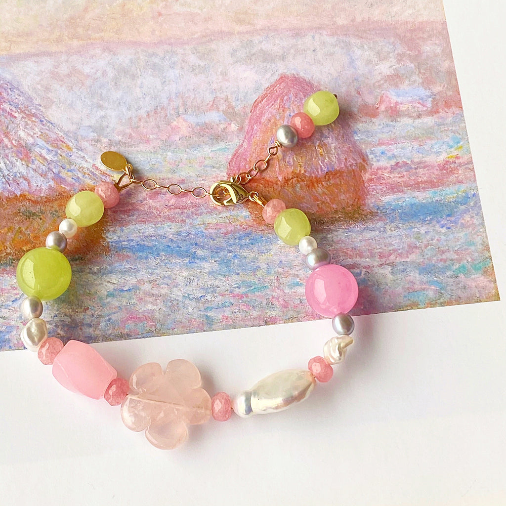 Flower Bomb Rose Quartz Bracelet