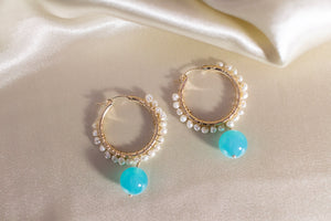 Freshwater pearls and aqua chalcedony 14KGF gold hoop earrings
