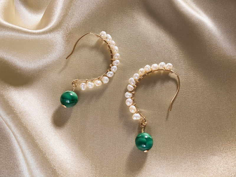 Malachite and Pearl Hoop Earrings