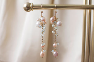 Baby Pink Pearls and Aquamarine Earrings