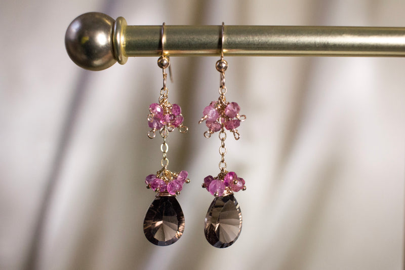 Pink Tourmaline and Smoky Quartz Earrings