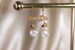 Citrine and Keshi Pearl Earrings