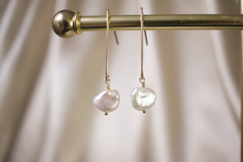 Keshi Pearl Dangle Earrings