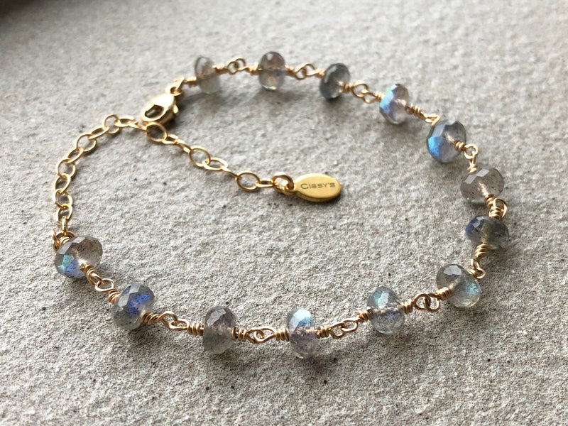 Labradorite BLUE FLASH Stacking Bracelet