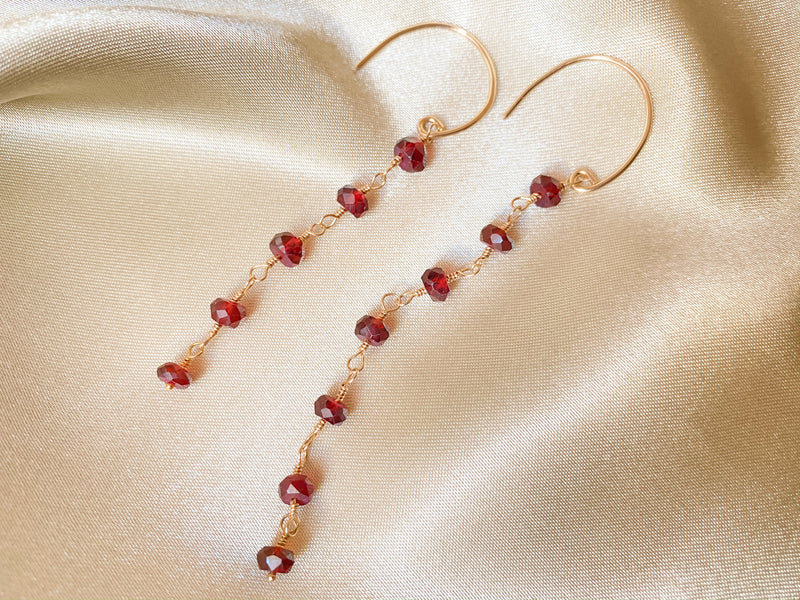 Garnet Asymmetric Drop Earrings
