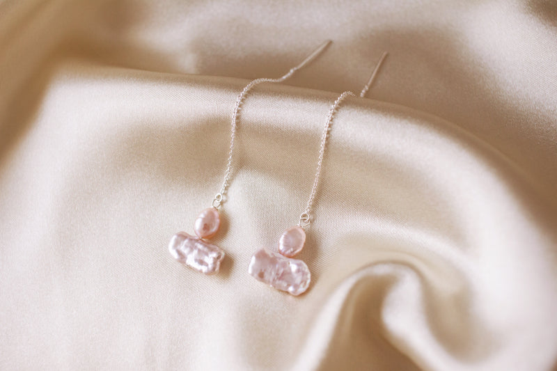 Harper Pink Pearl Thread Earrings