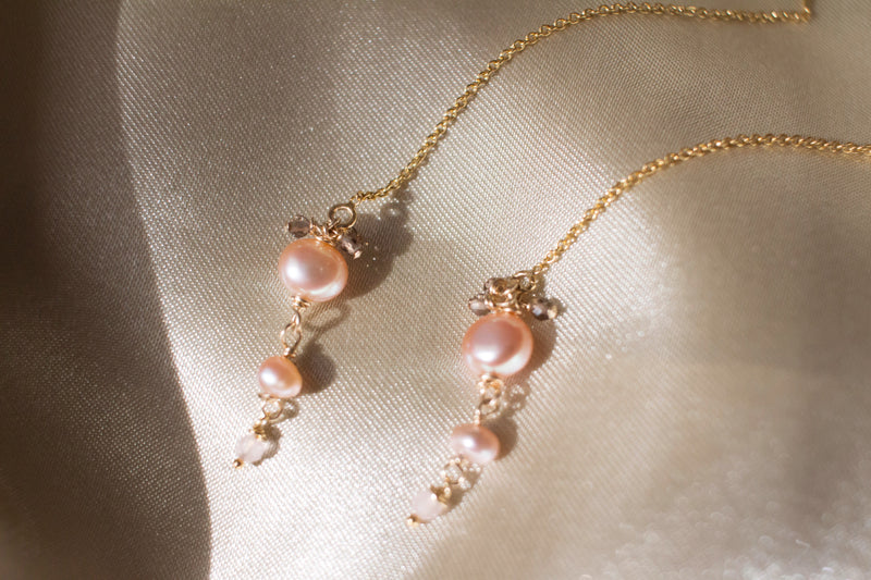 Peach Blossom Pearl Thread Earrings