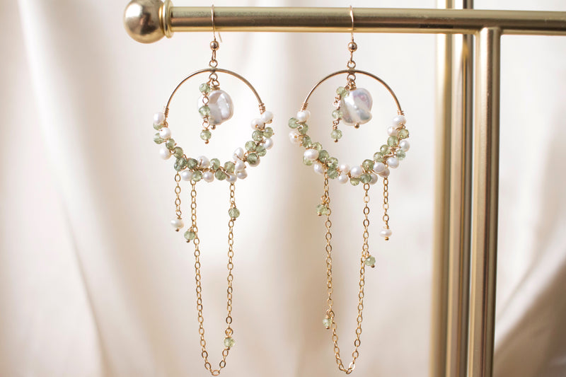 keshi pearl and green apatite semi-precious stone hoop earrings