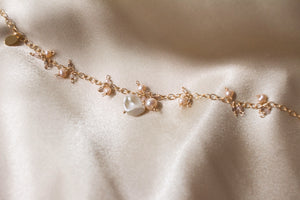 Peach Petals Pearl and Rose Quartz Bracelet